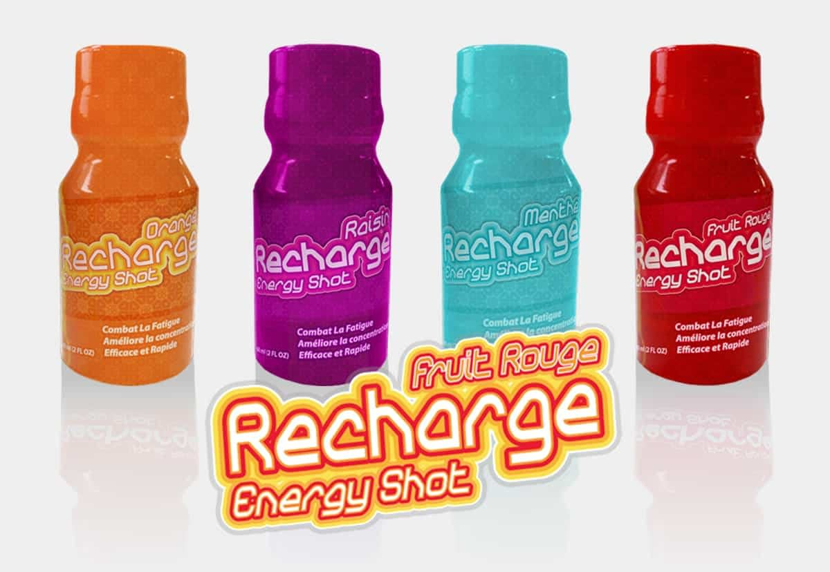 Recharge Energy Drinks Created Branding and Packaging