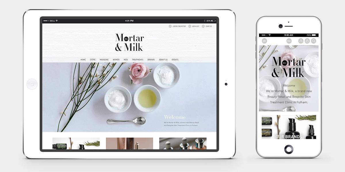 Mortar and Milk E-COMMERCE WEBSITE