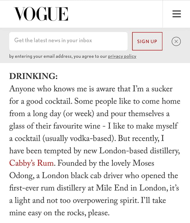 Vogue Cabby's Rum Article