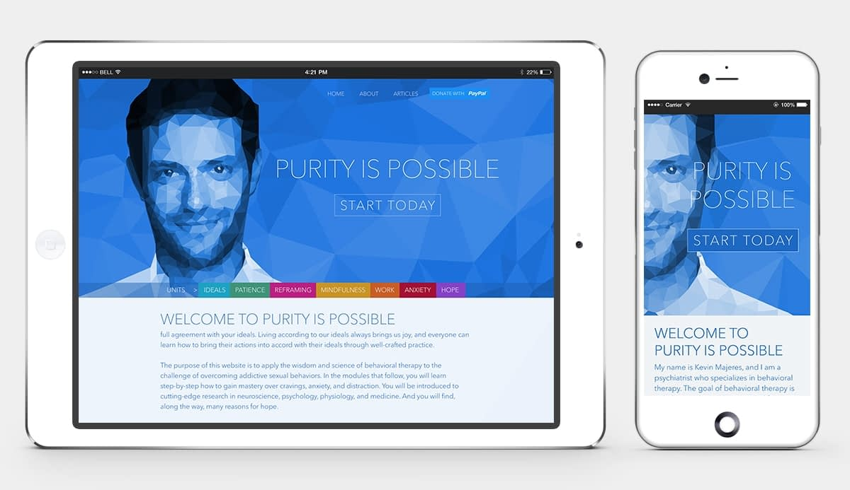 Purity is Possible Website Home Tablet and Mobile
