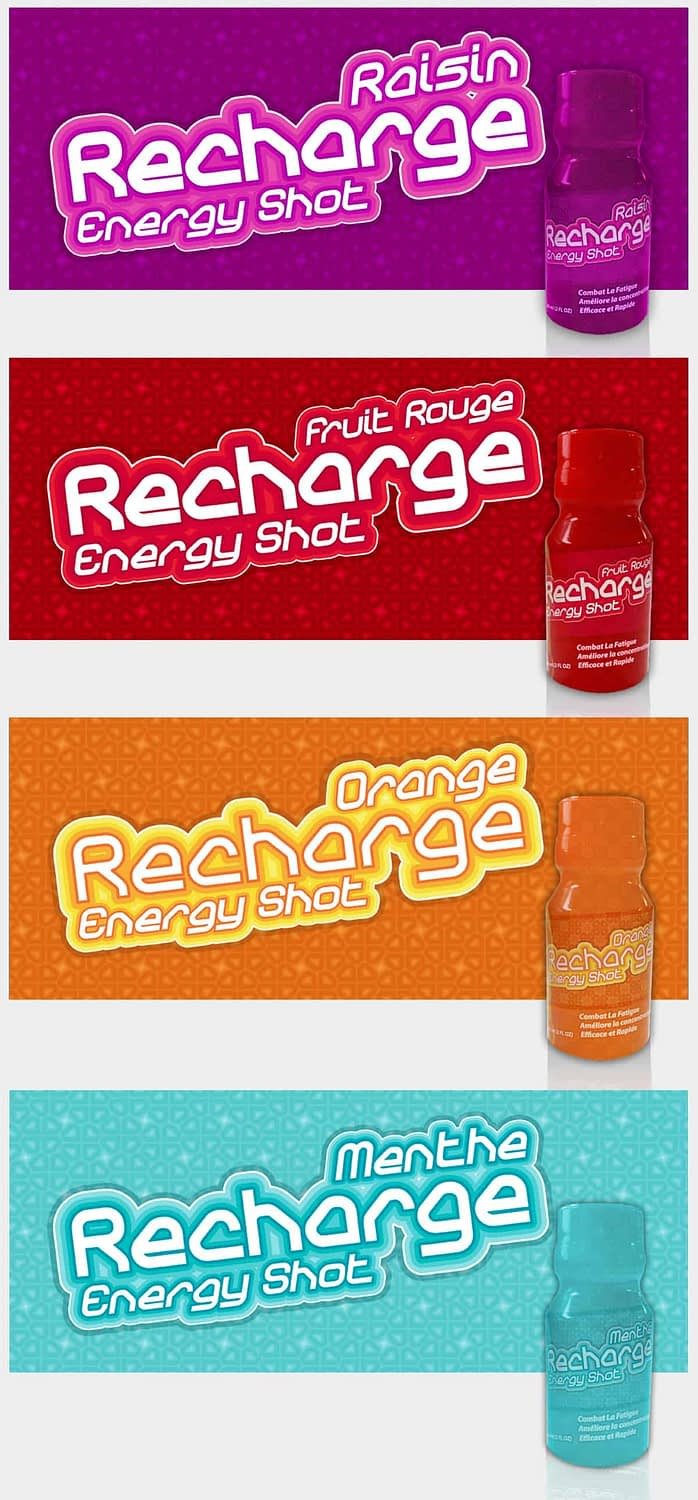 Recharge Energy Drinks Brand Packaging
