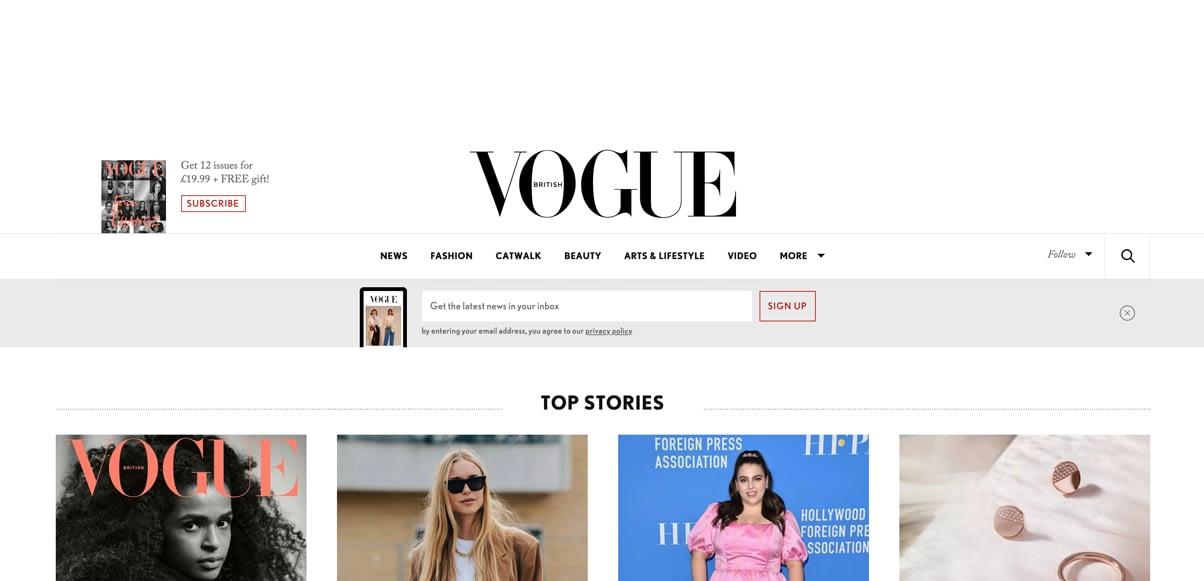 Vogue Online Magazine post banner